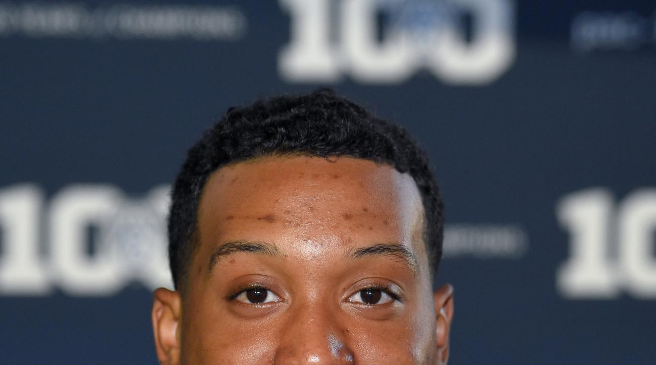 FILE - In this Friday, July 31, 2015, file photo, California linebacker Hardy Nickerson smiles as he speaks to reporters during NCAA college Pac-12 Football Media Days, in Burbank, Calif. If the Golden Bears are going to get back to their winning ways, th