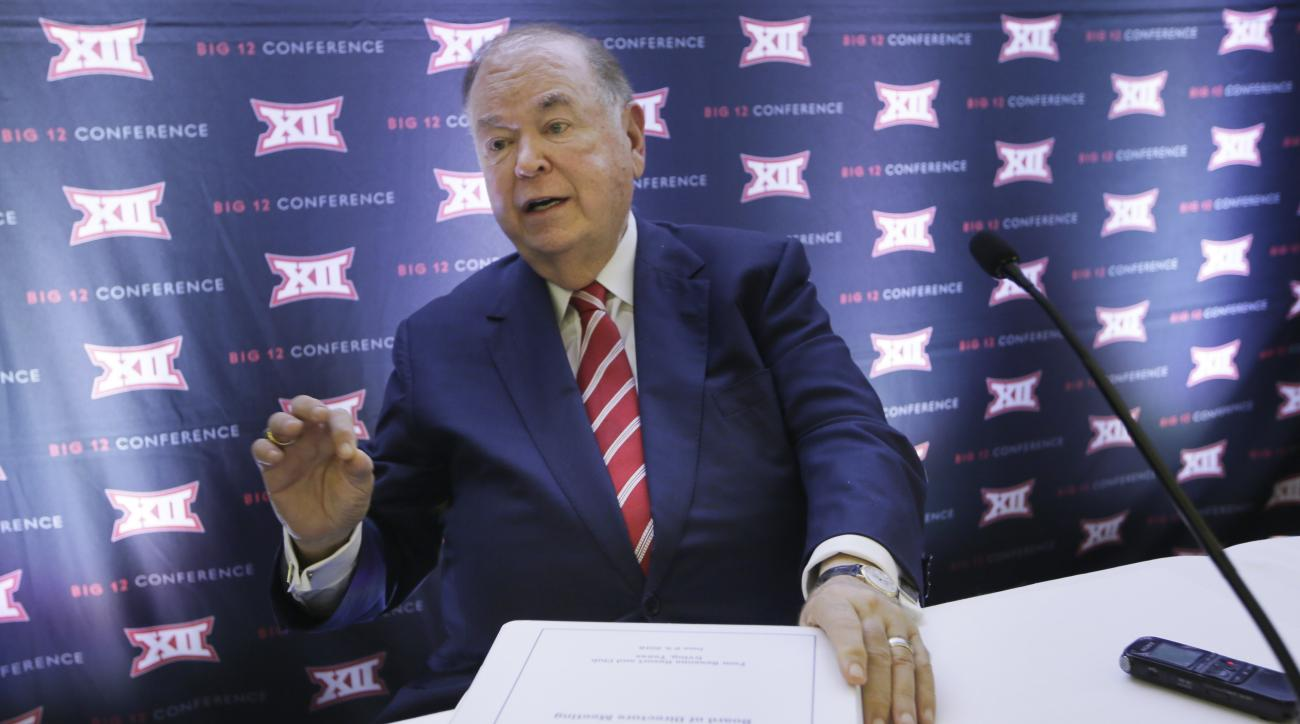University of Oklahoma President David Boren speak to reporters after the second day of the Big 12 sports conference meetings in Irving, Texas, Thursday, June 2, 2016. (AP Photo/LM Otero)