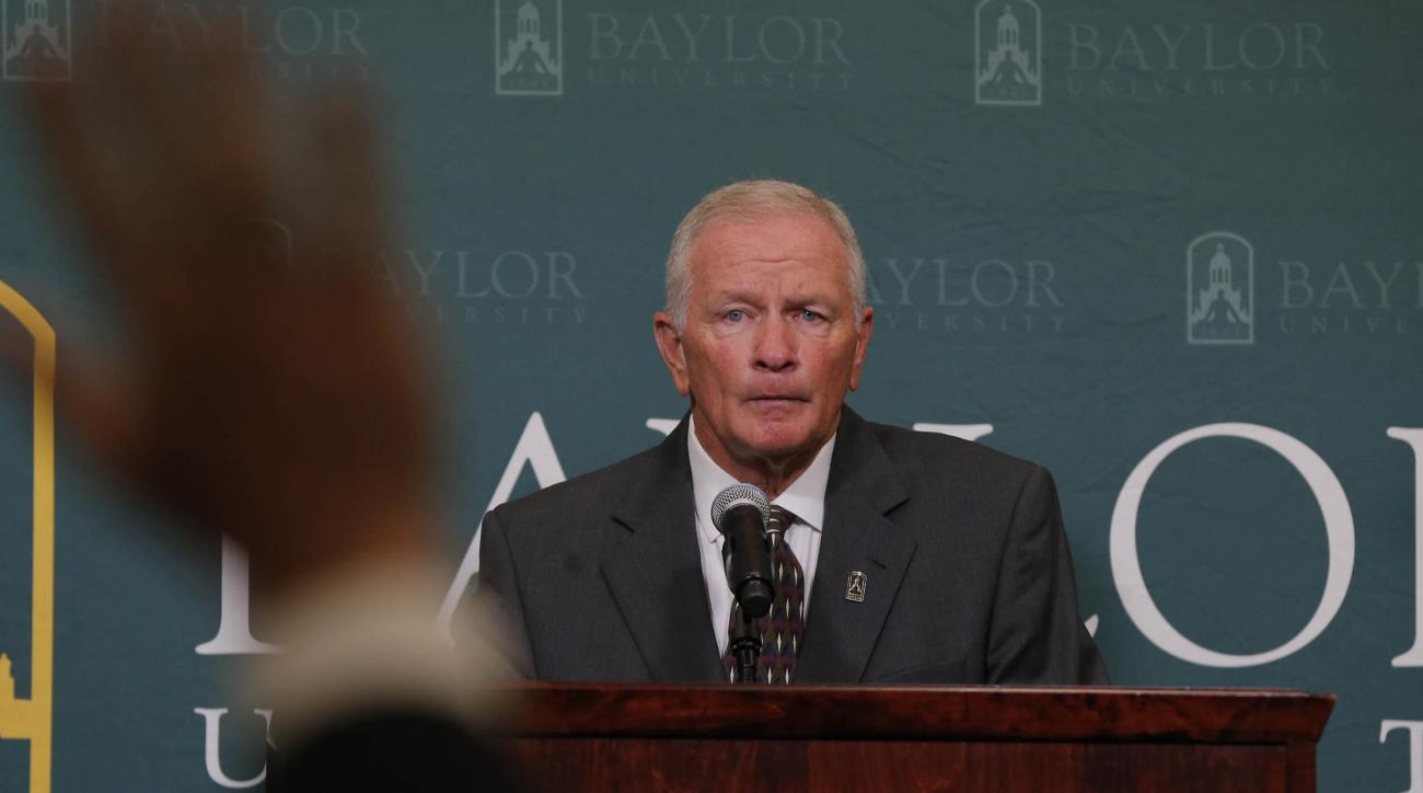 Baylor interim head football coach Jim Grobe talks with reporters during a news conference, Friday, June 3, 2016, in Waco, Texas. Grobe replaces former head coach Art Briles who was fired last week. (Rod Aydelotte/Waco Tribune Herald, via AP)