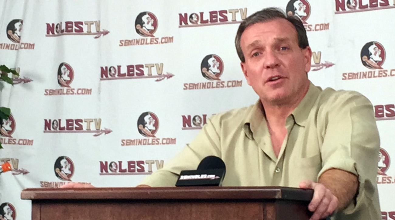 Florida State coach Jimbo Fisher discusses the incoming class during an NCAA college football news conference on national signing day, Wednesday, Feb. 3, 2016, in Tallahassee, Fla. (AP Photo/Joe Reedy)