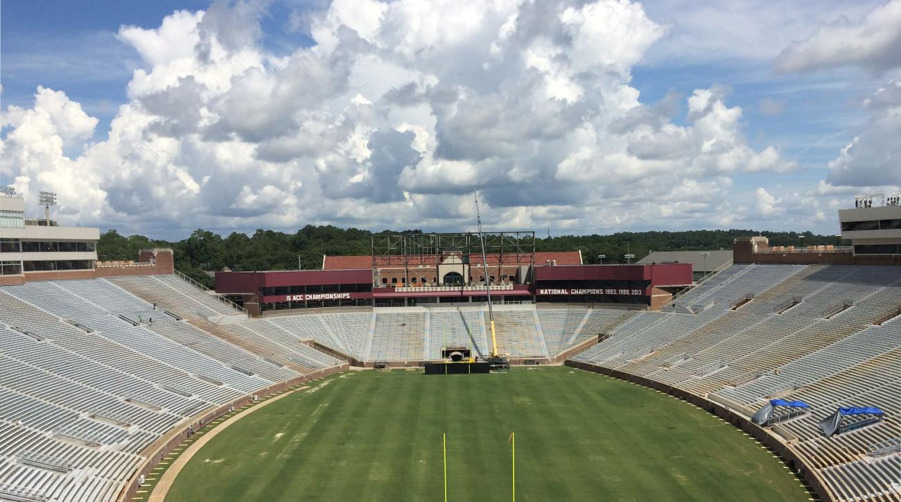 Doak Campbell Stadium is seen under construction on the campus of Florida State University on Thursday, June 29, 2016, in Tallahassee, Fla. The project, which is due to be completed on Sept. 3, is located in the South end zone and is part of $50 million i