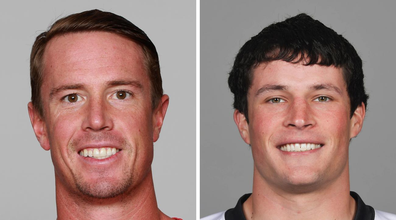 FILE - At left is a 2015 file photo showing Atlanta Falcons' Matt Ryan. At right is a 2016 file photo showing Carolina Panthers' Luke Kuechly. Boston College will retire the jerseys of Falcons quarterback Matt Ryan and Panthers linebacker Luke Kuechly in