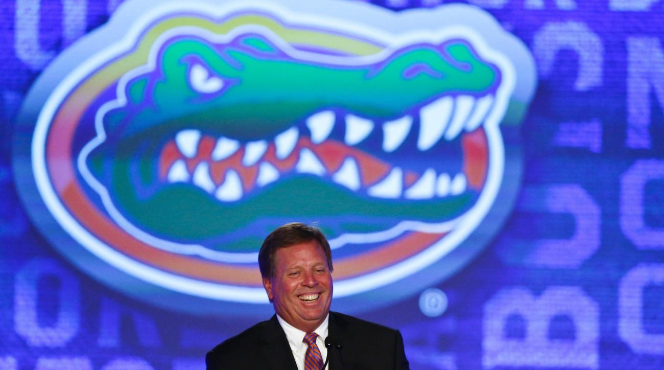 Florida coach Jim McElwain speaks to the media at the Southeastern Conference NCAA college football media days, Monday, July 11, 2016, in Hoover, Ala. (AP Photo/Brynn Anderson)