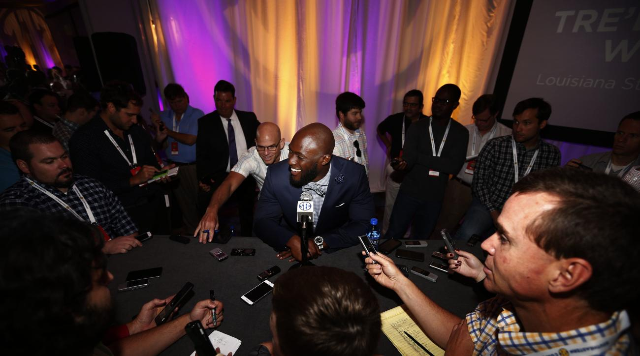 LSU running back Leonard Fournette speaks to the media at the Southeastern Conference NCAA college football media days, Thursday, July 14, 2016, in Hoover, Ala. (AP Photo/Brynn Anderson)