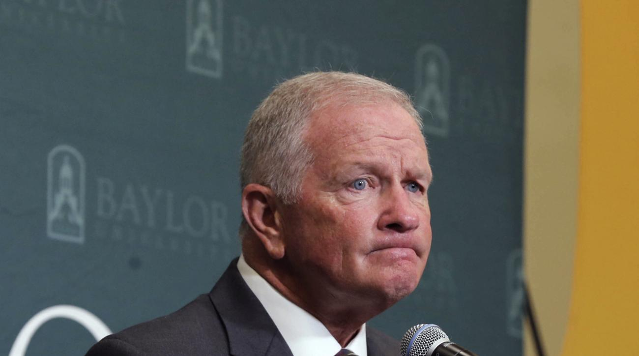 FILE - In this June 3, 2016, file photo, then-Baylor interim head football coach Jim Grobe reflects on a question during a news conference in Waco, Texas. Grobe has a masters degree in counseling. While that helps him talk with players, Baylor's acting he