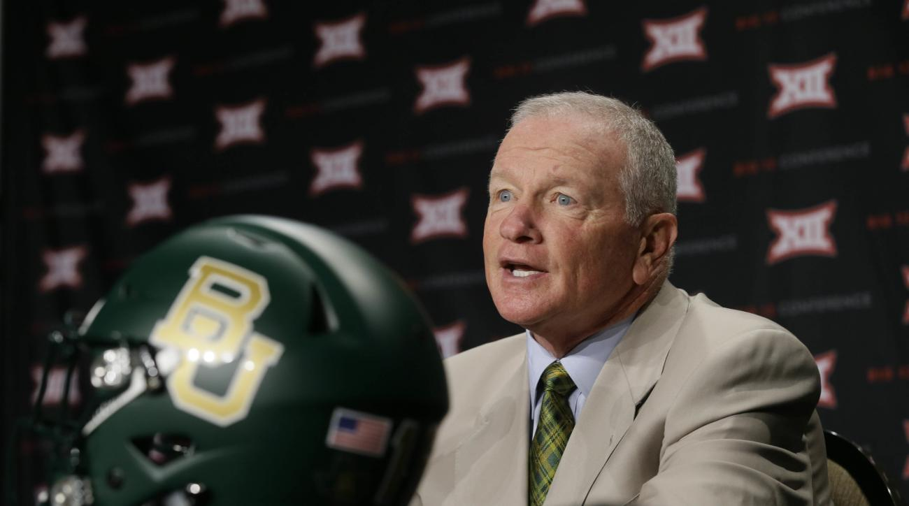 Baylor head coach Jim Grobe speaks to reporters during the Big 12 college football media days in Dallas, Tuesday, July 19, 2016. (AP Photo/LM Otero)