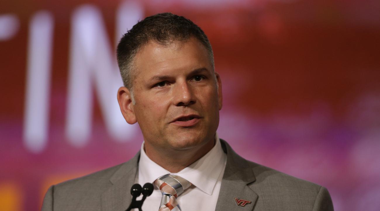 FILE - In a Thursday, July 21, 2016 file photo, Virginia Tech head coach Justin Fuente speaks during a news conference at the Atlantic Coast Conference Football Kickoff in Charlotte, N.C. Fuente must reverse the slide from annual 10-win seasons to also-ra