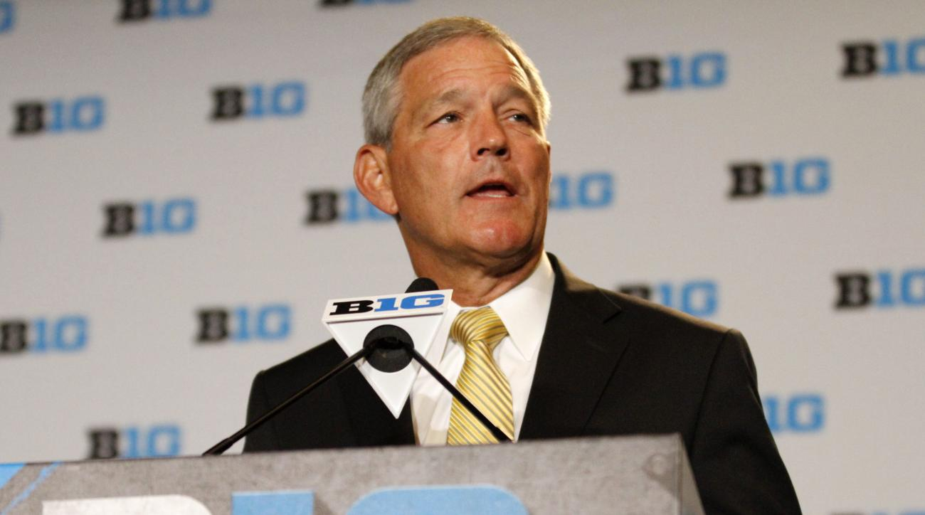 Iowa head coach Kirk Ferentz speaks to the media at the Big Ten NCAA college football media days, Tuesday, July 26, 2016 in Chicago. (AP Photo/Tae-Gyun Kim)