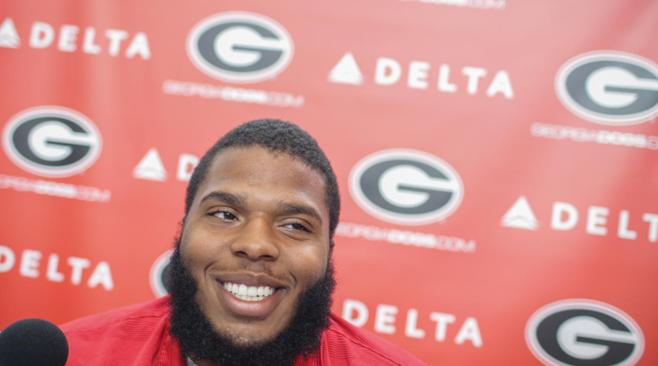 University of Georgia NCAA college football offensive lineman Isaiah Wynn gives an interview at Butts-Mehre Heritage Hall in Athens, Ga., Monday, Aug. 1, 2016. (John Roark/Athens Banner-Herald via AP)