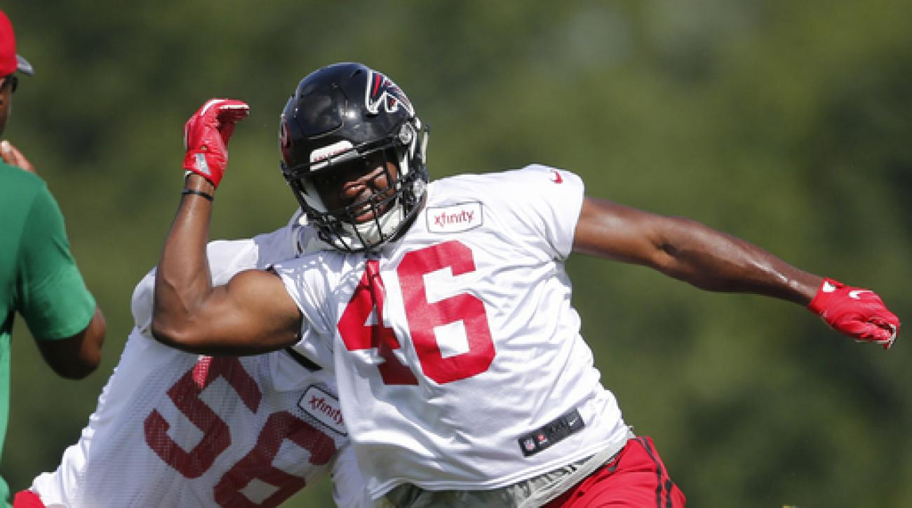 FILE - In this June 29, 2016, file photo, Atlanta Falcons linebacker Torrey Green (46) and linebacker Sean Weatherspoon (56) work a drill during an NFL football practice, in Flowery Branch, Ga. The Falcons have cut rookie free agent linebacker Torrey Gree