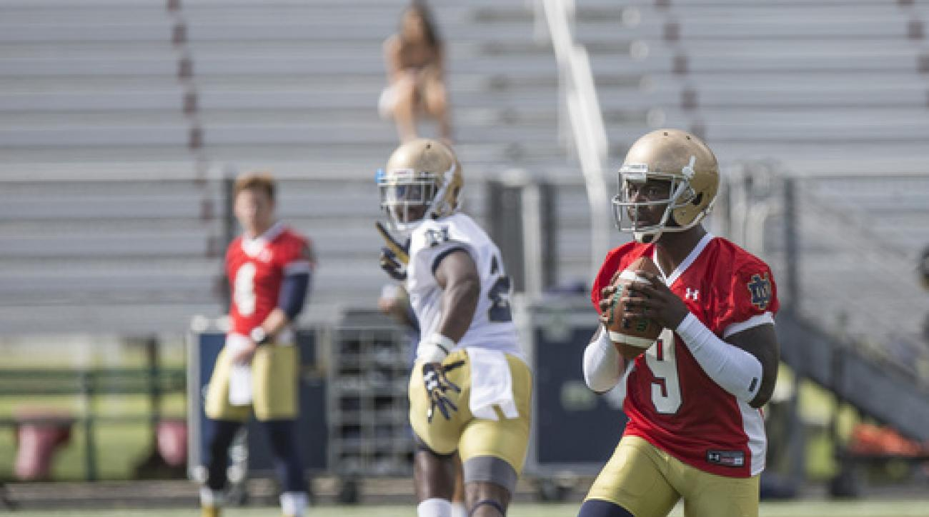 Notre Dame quarterback Malik Zaire gets ready to throw a pass as the Notre Dame football team practices at Culver Military Academy in Culver, Indiana on Saturday, Aug. 6, 2016.  About the only thing Notre Dame coach Brian Kelly can say for certain about t