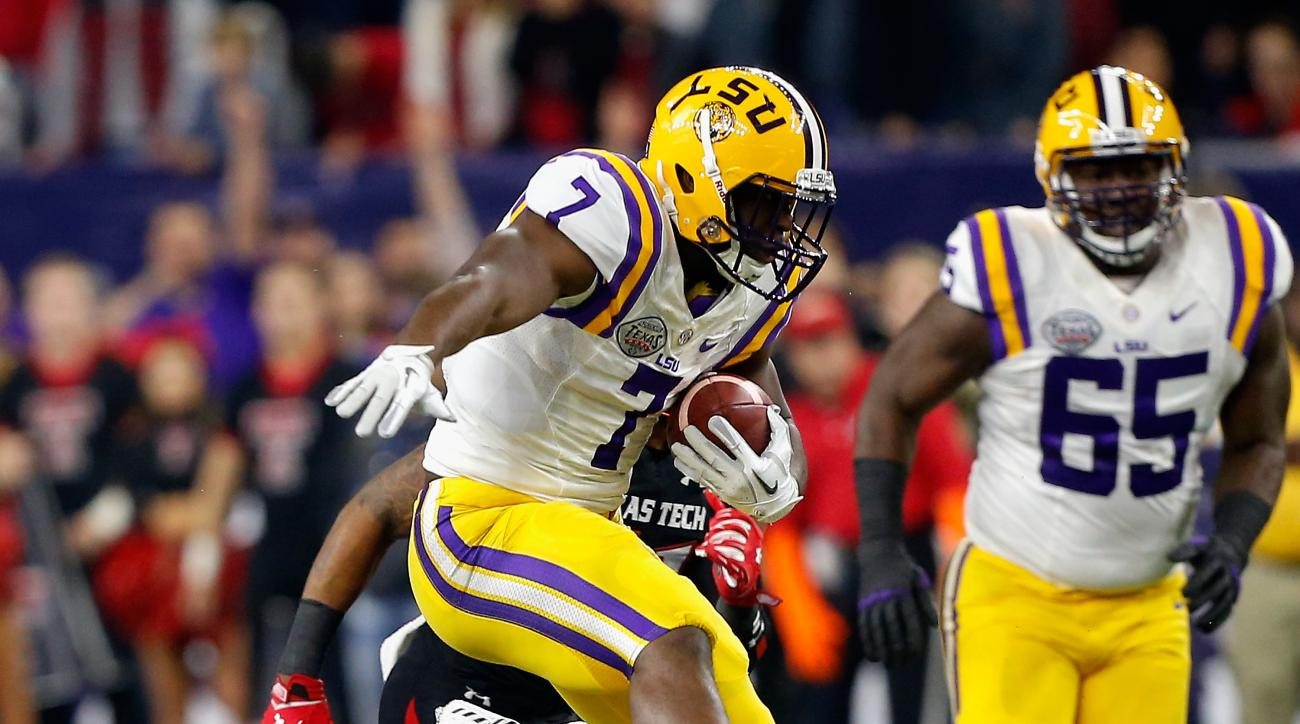 FILE - - In this Dec. 29, 2015, file photo, LSU running back Leonard Fournette (7) rushes against Texas Tech during the first half of the Texas Bowl NCAA football game in Houston.  (AP Photo/Bob Levey, File)