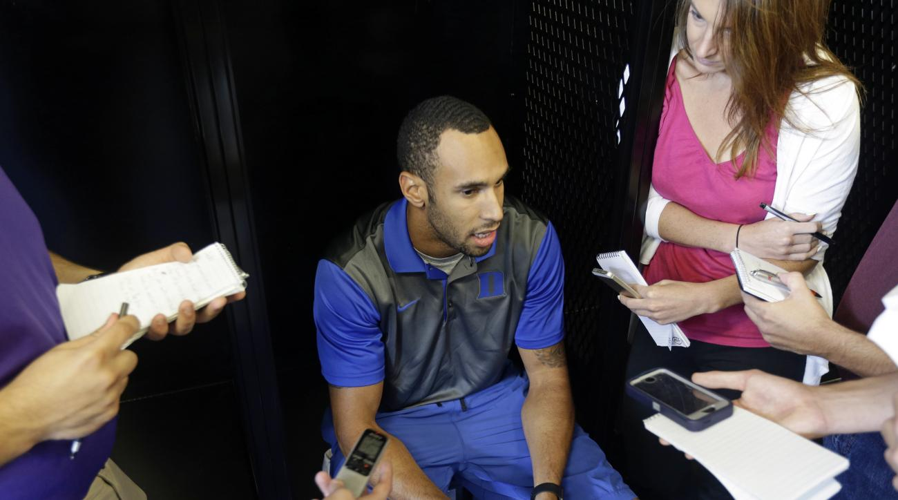 Duke wide receiver Anthony Nash speaks with reporters during the NCAA college football team's media day in Durham, N.C., Monday, Aug. 8, 2016. (AP Photo/Gerry Broome)