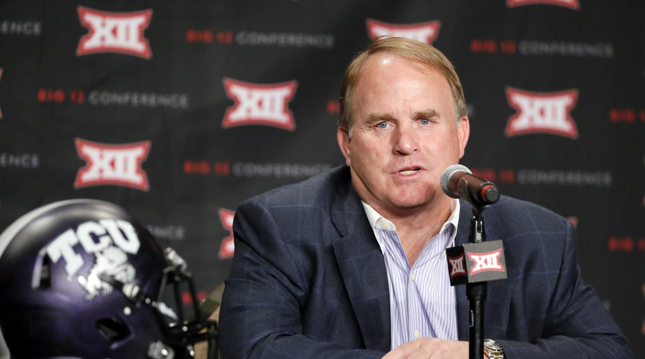 FILE - In this July 18, 2016, file photo, TCU head football coach Gary Patterson responds to questions during Big 12 media days, in Dallas. Patterson has signed a one-year extension that takes his contract through the 2021 season. Athletic director Chris