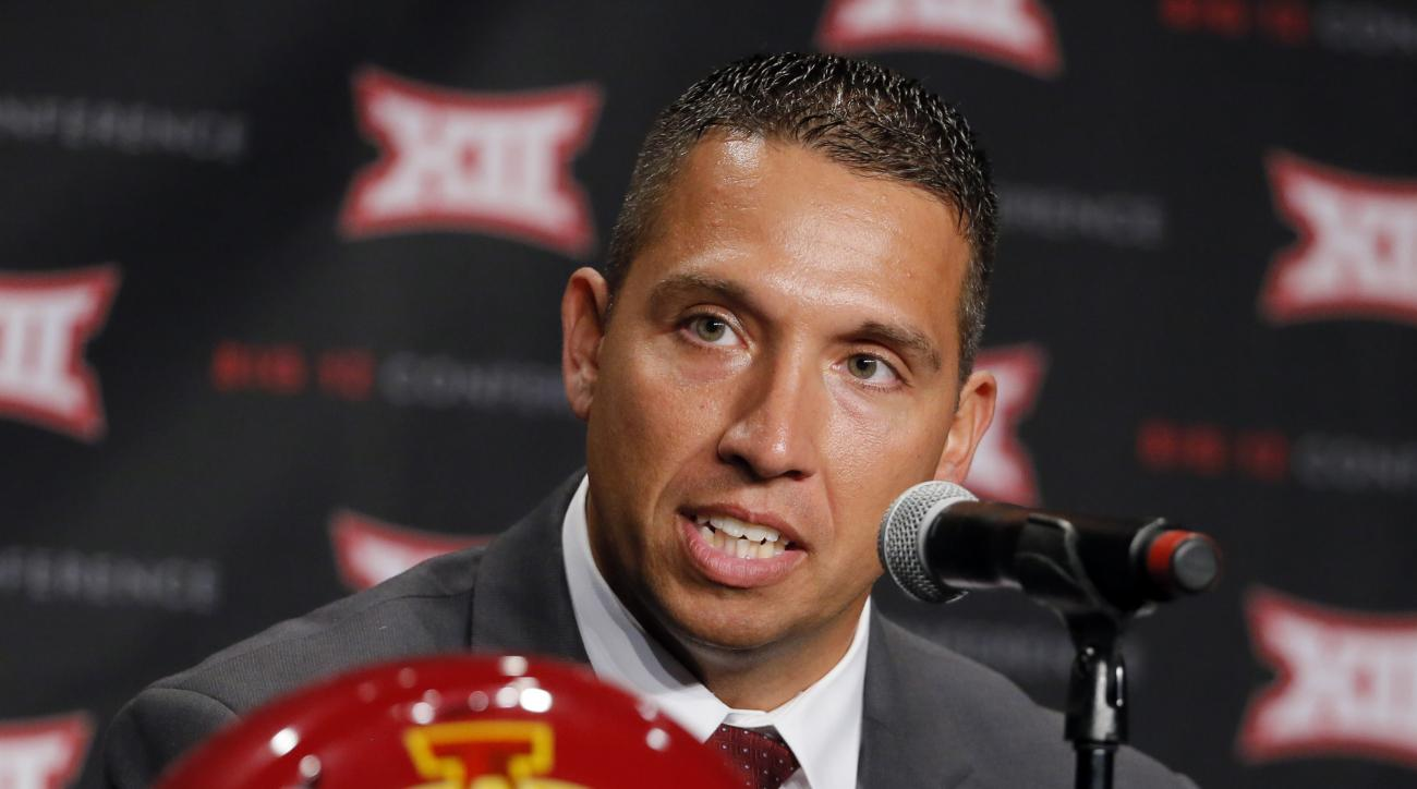 FILE - In this July 18, 2016, file photo, Iowa State head football coach Matt Campbell responds to questions during Big 12 media days, in Dallas. Campbell, just 36 and the youngest Power Five coach in the country, has given a team long stuck in the Big 12