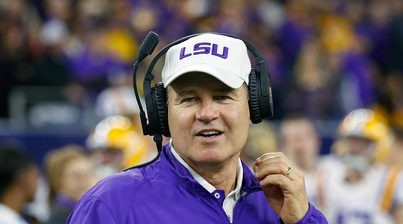 FILE - In this Dec. 29, 2015, file photo, LSU head coach Les Miles prepares to play Texas Tech at the Texas Bowl NCAA football game, in Houston. (AP Photo/Bob Levey, File)