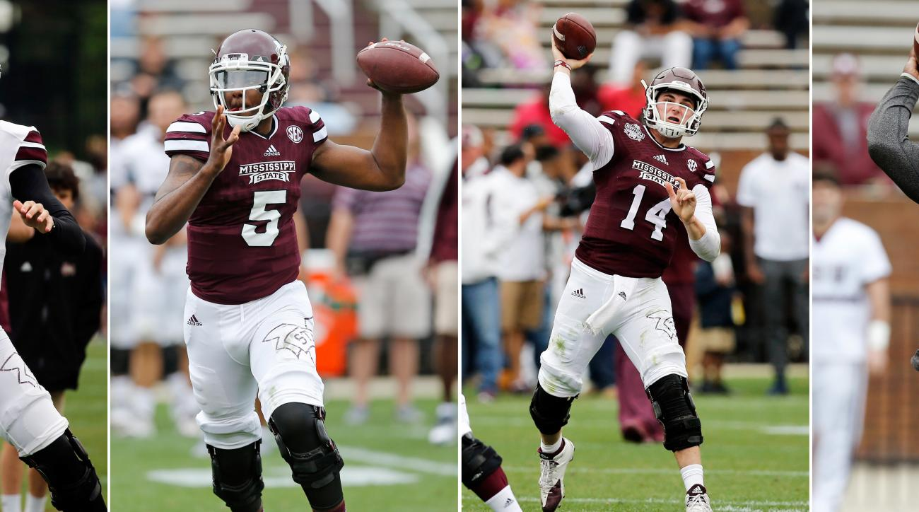 FILE - From left to right, in April 16, 2015, file photos, Mississippi State quarterbacks Nick Fitzgerald (7), Elijah Staley (5) Nick Tiano (14) and Damian Williams (11) throw passes during the teams Maroon against White spring NCAA college football game