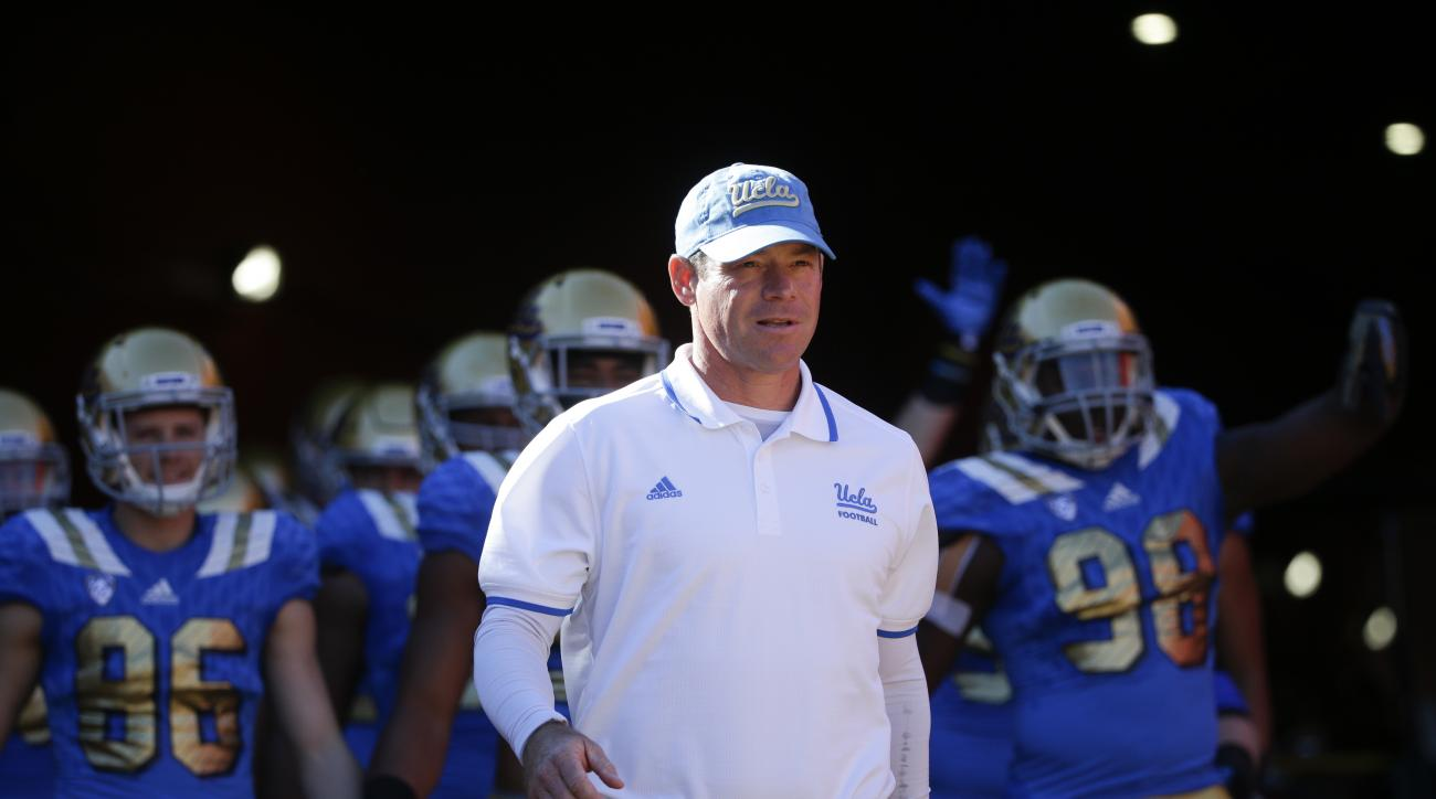 FILE - In this Nov. 28, 2015, file photo, UCLA head coach Jim Mora leads his team onto the field before an NCAA college football game against Southern California in Los Angeles, Calif. (AP Photo/Jae C. Hong, File)