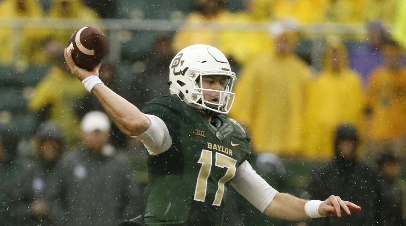 FILE - In this Oct. 24, 2015, file photo, Baylor's Seth Russell throws a pass in the first half of an NCAA college football game against Iowa State in Waco, Texas. If Russell stays healthy and can repeat what he was doing before getting hurt, the Bears co