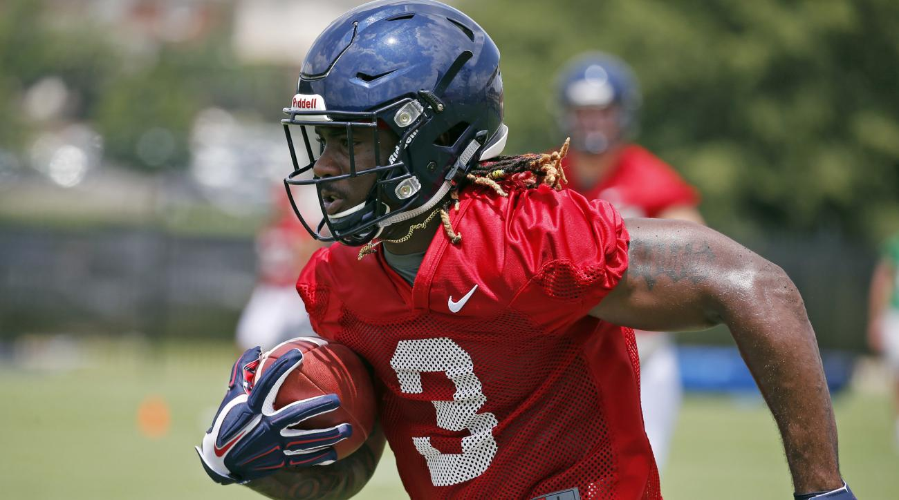 In this Aug. 8, 2016 photograph, Mississippi wide receiver Damor'ea Stringfellow (3) sprints downfield after catching a pass during an NCAA college football practice in Oxford, Miss. Although a big chunk of Mississippi star's power from last season is gon
