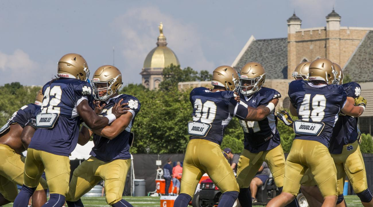 Notre Dame NCAA college football linebackers practice during Notre Dame Football Media Day Wednesday, Aug. 17, 2016, at LaBar Practice Field on the Notre Dame campus in South Bend, Ind.(Robert Franklin/South Bend Tribune via AP)