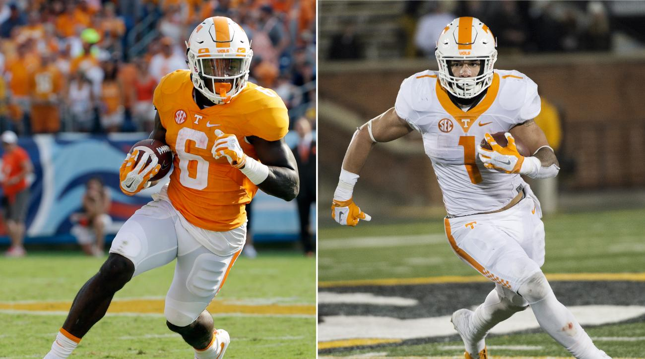 FILE - At left, in a Sept. 5, 2015, file photo, Tennessee running back Alvin Kamara (6) plays against Bowling Green in the first half of an NCAA college football game, in Nashville, Tenn. At right, in a Nov. 21, 2015, file photo, Tennessee running back Ja