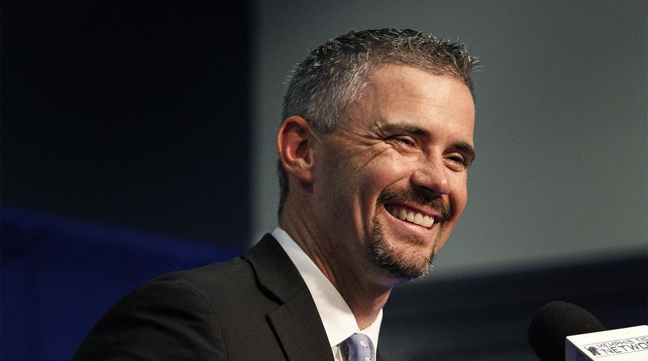 FILE -- In this Dec. 4, 2015 photo, Memphis' new football coach, Mike Norvell, speaks during a news conference in Memphis, Tenn. Novrell left his post as offensive coordinator at Arizona State to take over the team from departed Memphis coach Justin Fuent