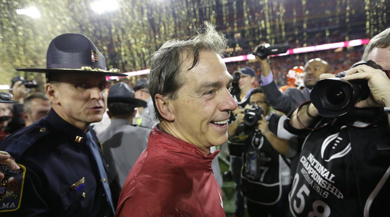 FILE - In this Jan. 11, 2016, file photo, Alabama head coach Nick Saban smiles after the NCAA college football playoff championship game against Clemson, in Glendale, Ariz. Alabama won 45-40. Nick Saban entered the decade armed with a national title and a