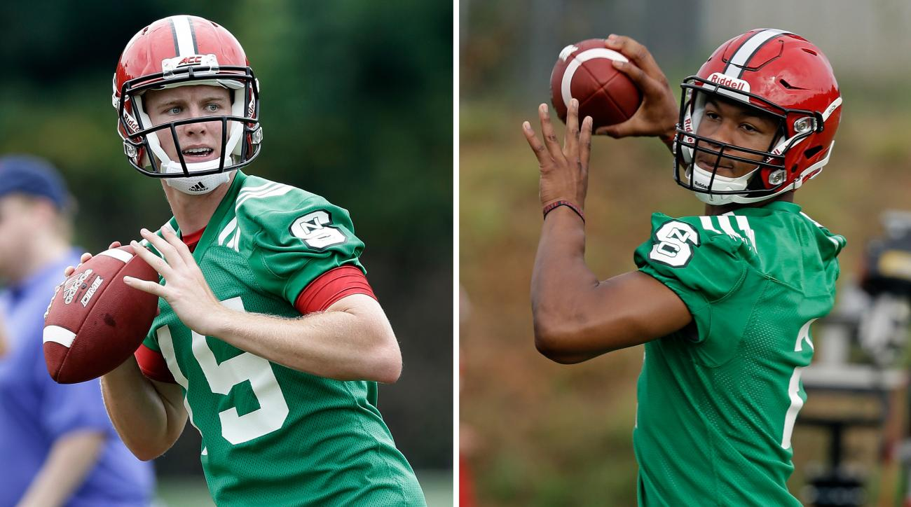FILE - At left, in an Aug. 1, 2016, file photo, North Carolina State quarterback Ryan Finley (15) throws during the team's first NCAA college football practice of the season in Raleigh, N.C. At right, also in an Aug. 1, 2016, file photo, North Carolina St