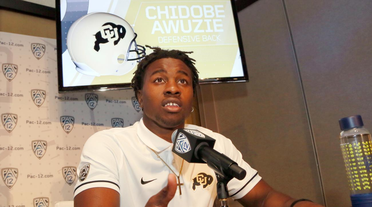 FILE - This July 15, 2016 file photo shows Colorado defensive back Chidobe Awuzie speaking at the Pac-12 NCAA college football media day in Los Angeles. Awuzie switches between cornerback and nickel and became the first Colorado University defensive back