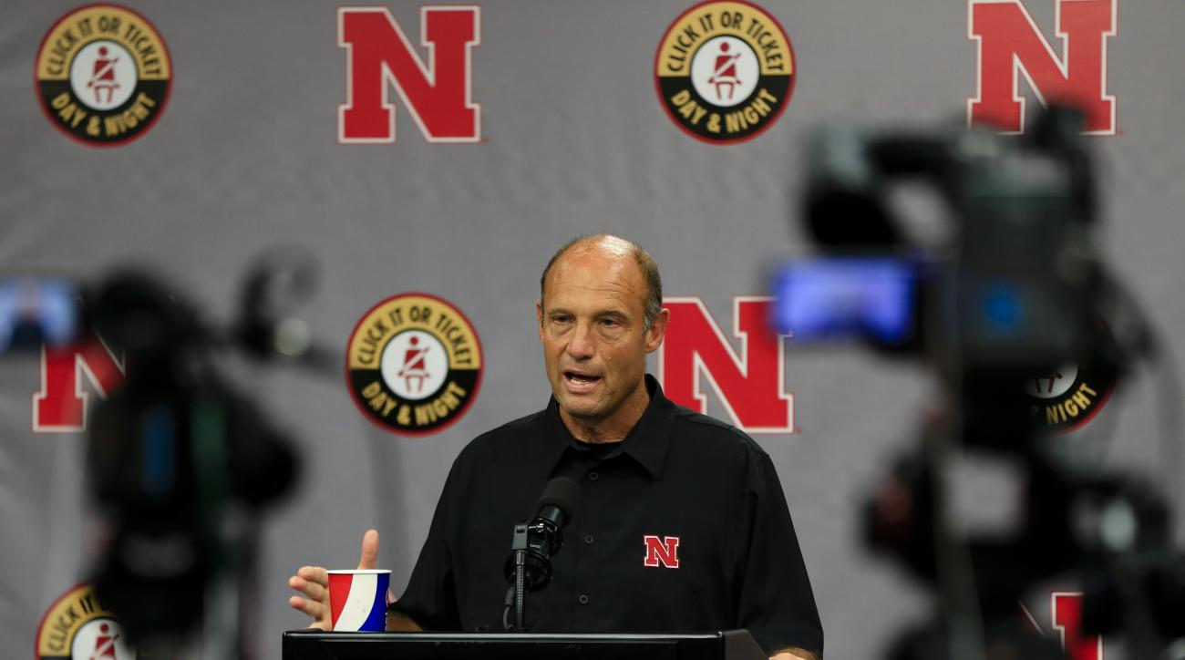 Nebraska NCAA college football head coach Mike Riley speaks at a news conference in Lincoln, Neb., Monday, Aug. 29, 2016. Nebraska quarterback Tommy Armstrong Jr. isn't pouting over not being voted a team captain, even though he's going into his fourth ye