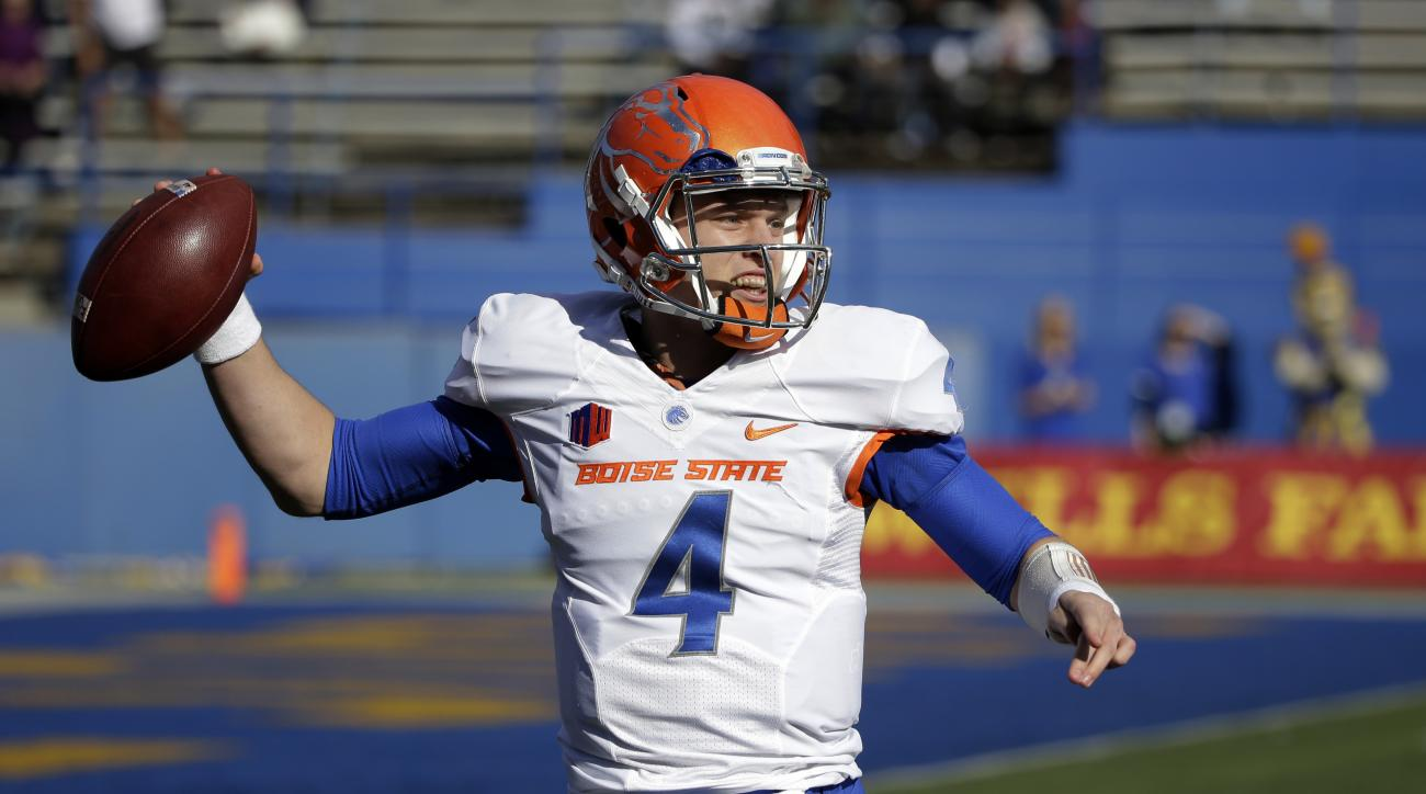 FILE - In this Nov. 27, 2015, file photo, Boise State quarterback Brett Rypien throws against San Jose State during an NCAA college football game in San Jose, Calif. Quarterback Rypien is back after throwing for 3,353 yards as a freshman. The Group of Fiv
