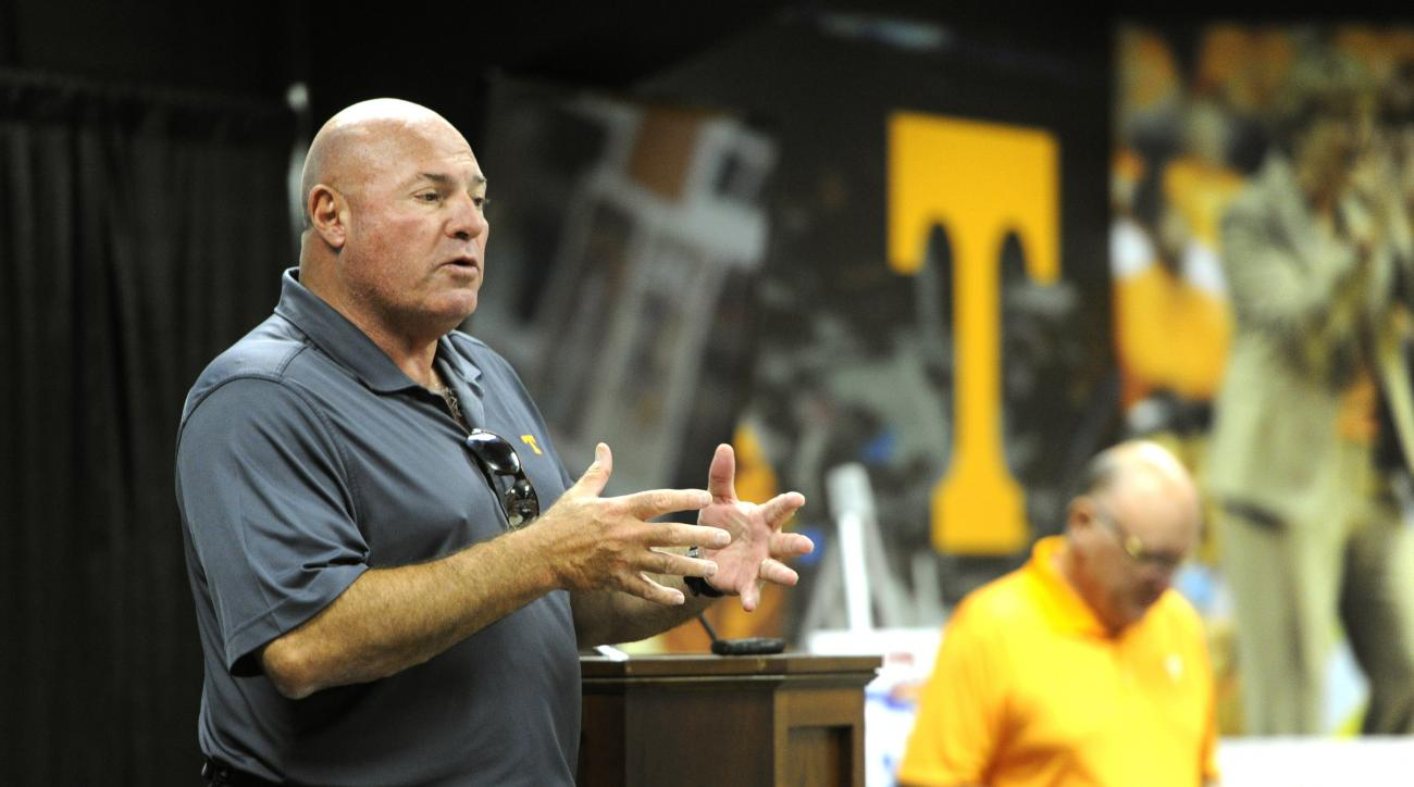 FILE - In this July 31, 2015, file photo, Tennessee defensive line coach Steve Stripling speaks during a luncheon in Knoxville, Tenn. Tennessee believes its defense has the depth that can enable the Volunteers to avoid the blown leads that haunted them in