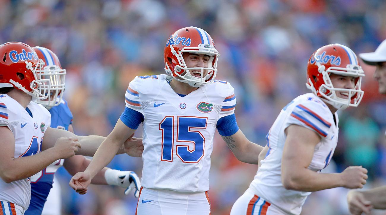 FILE - In this April 8, 2016, file photo, Florida kicker Eddy Pineiro (15) celebrates after making a field goal during a spring football game in Gainesville, Fla. No. 25 Florida went from having one of the worst place-kicking situations in the country to