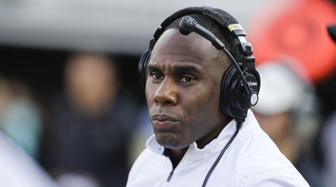 FILE - In this Sept. 12, 2015, file photo, Vanderbilt head coach Derek Mason watches the action from the sideline in the second half of an NCAA college football game against Georgia, in Nashville, Tenn. For all the games being played Thursday night to hel