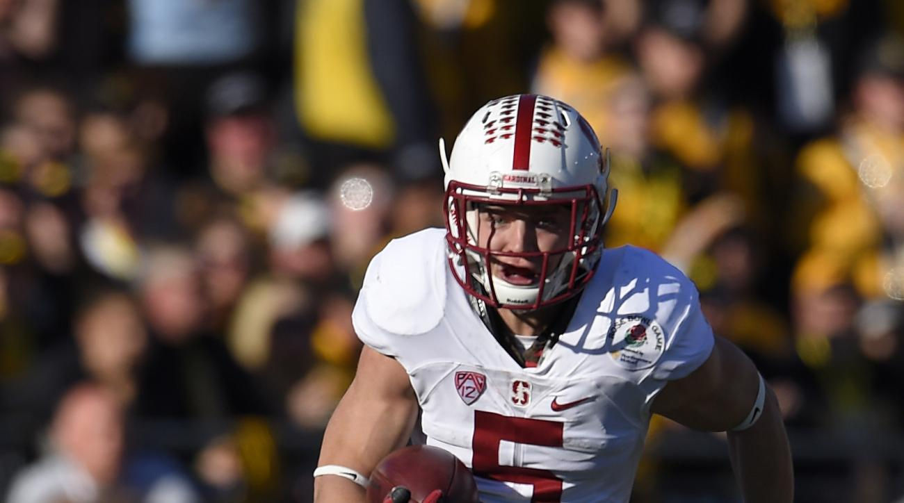 FILE- In this Jan. 1, 2016, file photo, Stanford running back Christian McCaffrey runs the ball against Iowa during the first half of the Rose Bowl NCAA college football game in Pasadena, Calif. McCaffrey did it all last year, rushing for 2,019 yards, add