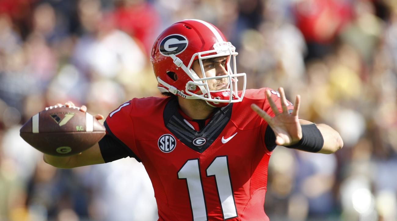Georgia quarterback Greyson Lambert passes the ball in the first half of an NCAA college football game against Georgia Tech on Saturday, Nov. 28, 2015, in Atlanta, Ga. (AP Photo/Brett Davis)