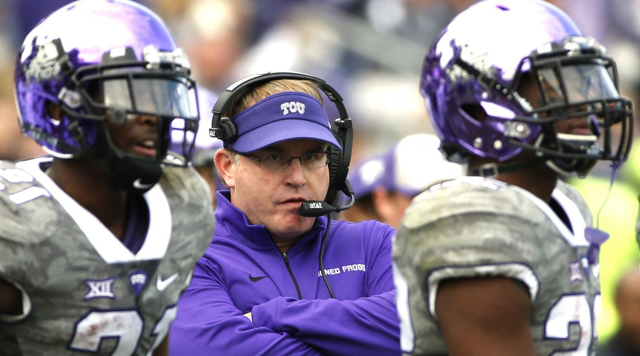 FILE - In this Nov. 14, 2015, file photo, TCU head coach Gary Patterson looks on from the sidelines during the second half of an NCAA college football game against Kansas, in Fort Worth, Texas. No. 13 TCUs opening opponent, South Dakota State, shouldnt be
