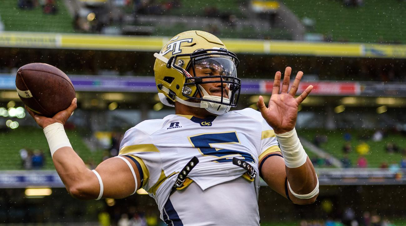 In this photo released by Georgia Tech, Georgia Tech Quarterback Justin Thomas (5) warms up before the first half of an NCAA football game between Boston College and Georgia Tech, Saturday, Sept. 3, 2016, in Dublin, Ireland. (Danny Karnik/Georgia Tech via