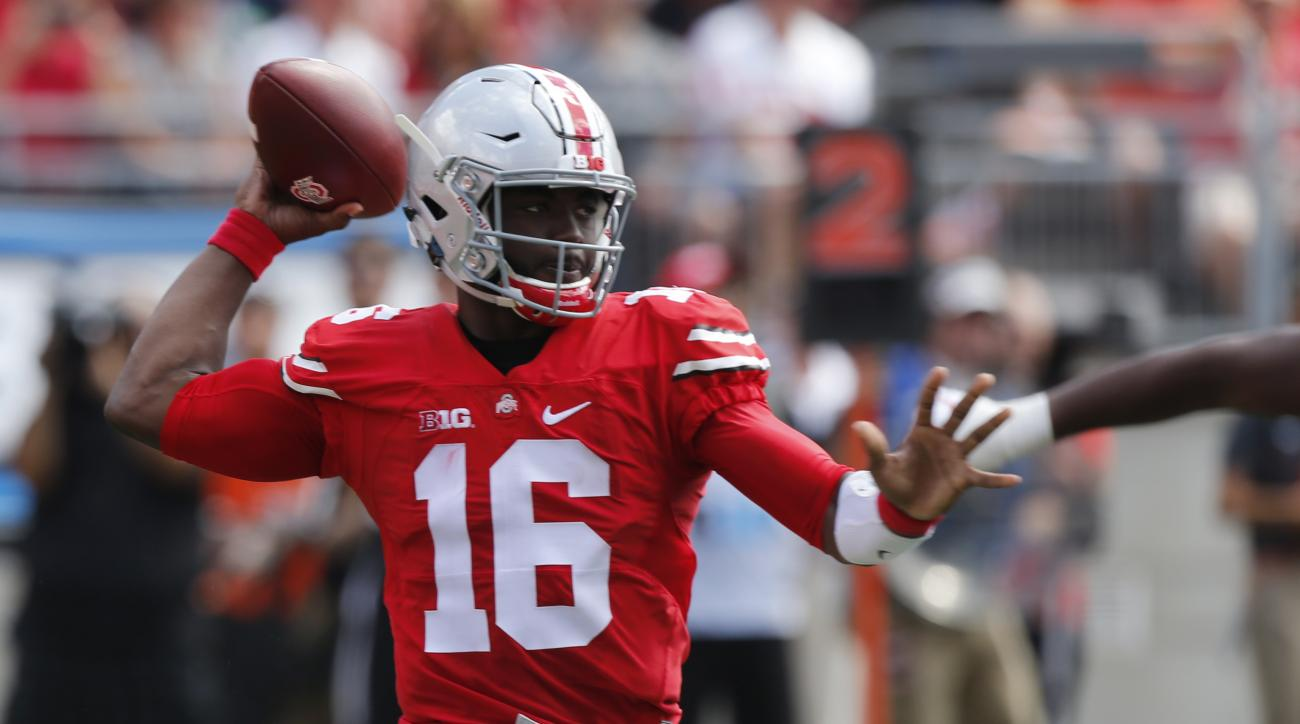 Ohio State quarterback J.T. Barrett throws a pass against Bowling Green during the first half of an NCAA college football game Saturday, Sept. 3, 2016, in Columbus, Ohio. (AP Photo/Jay LaPrete)