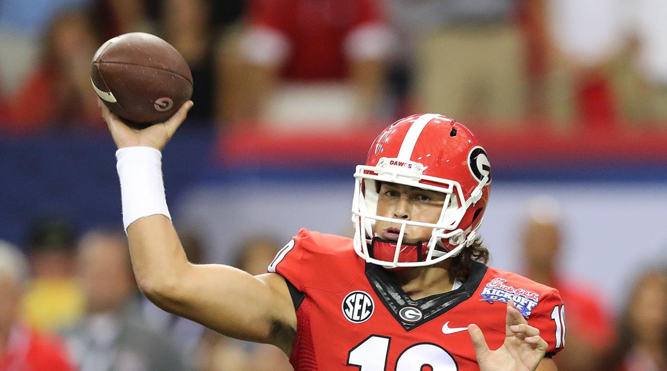 Georgia quarterback Jacob Eason makes a pass attempt for the team against North Carolina during the second quarter of an NCAA college football game in Atlanta, Saturday, Sept. 3, 2016. (Curtis Compton/Atlanta Journal-Constitution via AP)