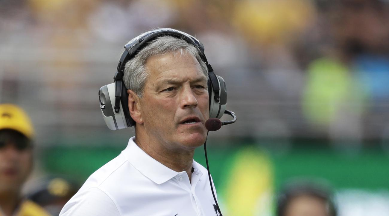 Iowa head coach Kirk Ferentz question a call during the first half of an NCAA college football game against Miami of Ohio, Saturday, Sept. 3, 2016, in Iowa City, Iowa. (AP Photo/Charlie Neibergall)