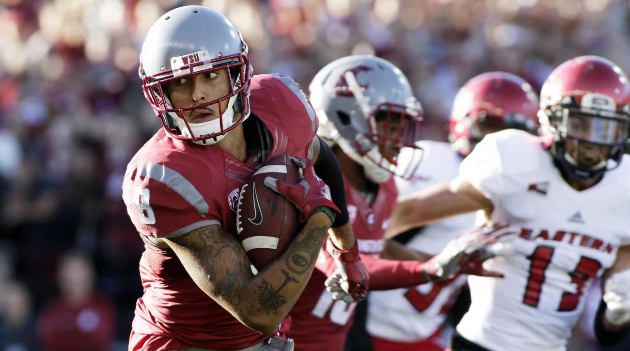 Washington State wide receiver Gabe Marks (9) runs the ball for touchdown during the first half of an NCAA college football game against the Eastern Washington in Pullman, Wash., Saturday, Sept. 3, 2016. (AP Photo/Young Kwak)