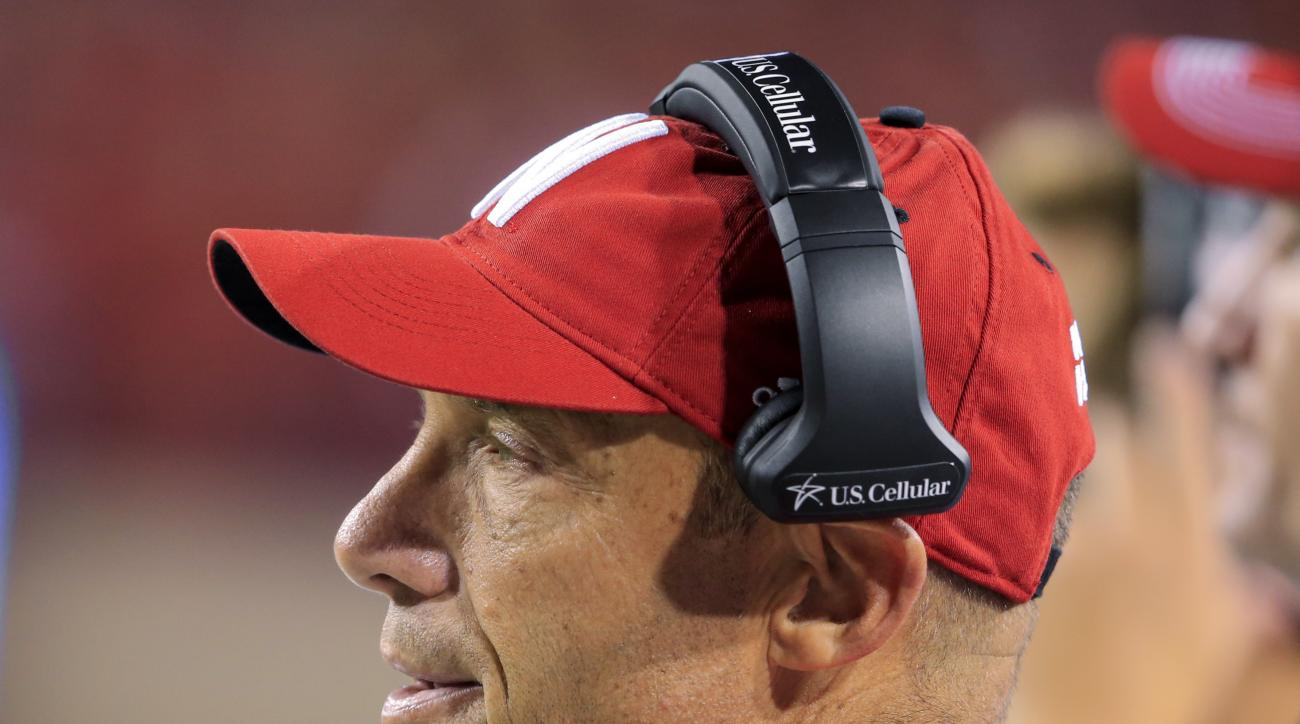 Nebraska head coach Mike Riley follows the second half of an NCAA college football game against Fresno State in Lincoln, Neb., Saturday, Sept. 3, 2016. Nebraska won 43-10 in coach Riley's 100th win as a college coach. (AP Photo/Nati Harnik)