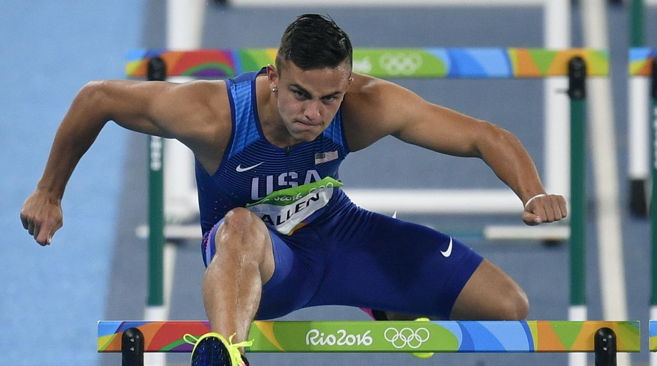 FILE - In this Aug. 15, 2016, file photo, United States' Devon Allen competes in a men's 110-meter hurdles heat during the athletics competitions of the Summer Olympics at the Olympic stadium in Rio de Janeiro, Brazil. Allen saw only one real downside in