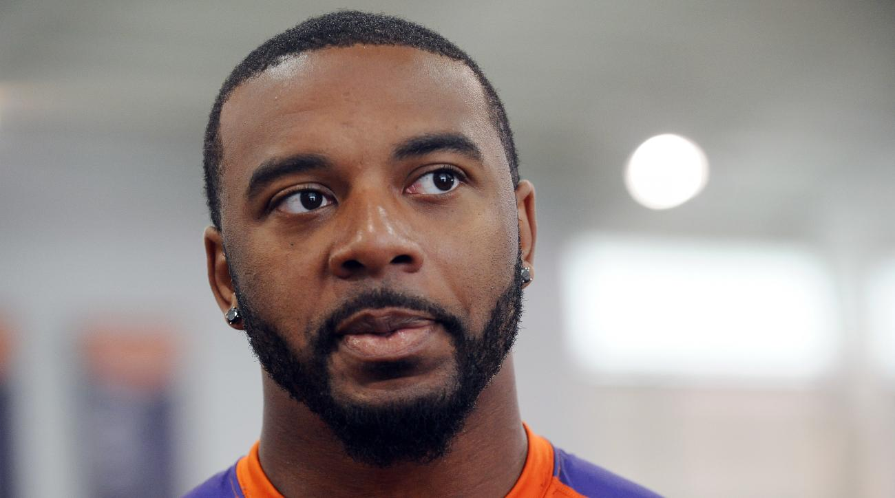 FILE - This is a March 6, 2014, file photo showing Clemson quarterback Tajh Boyd speaking to the media during Clemson football Pro Day in Clemson, S.C. Former Clemson quarterback Boyd has been arrested after authorities say he pushed a bouncer who told hi