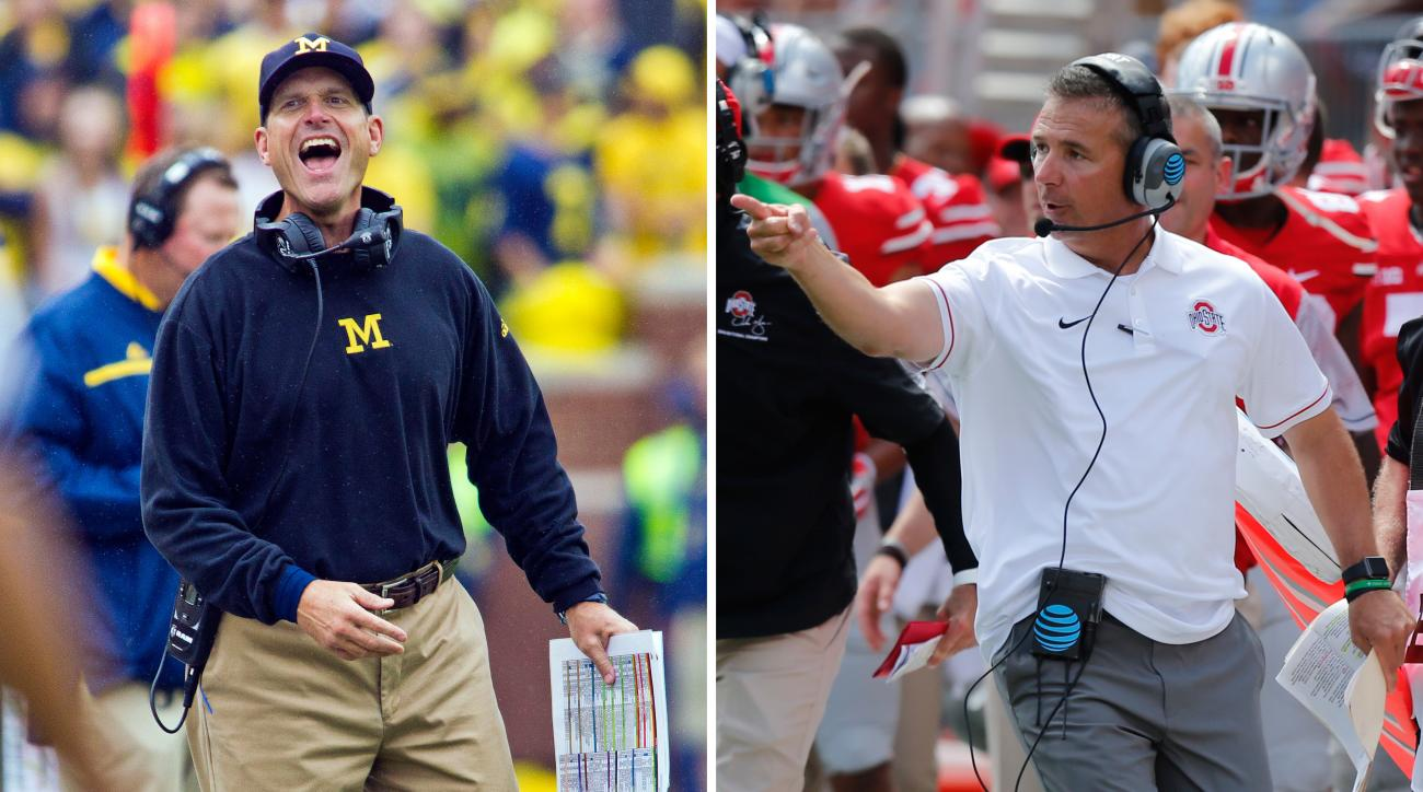 FILE - At left, in a Sept. 12, 2015, file photo, Michigan coach Jim Harbaugh laughs and reacts to an offical on the sideline during the team's NCAA college football game against Oregon State in Ann Arbor, Mich. At right, in a Sept. 3, 2016, file photo,  O