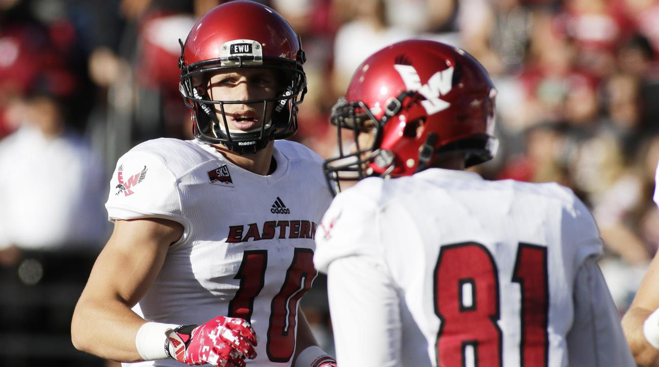 Eastern Washington wide receiver Cooper Kupp (10) and wide receiver Stu Stiles (81) stand on the field during the first half of an NCAA college football game against Washington State in Pullman, Wash., Saturday, Sept. 3, 2016. (AP Photo/Young Kwak)