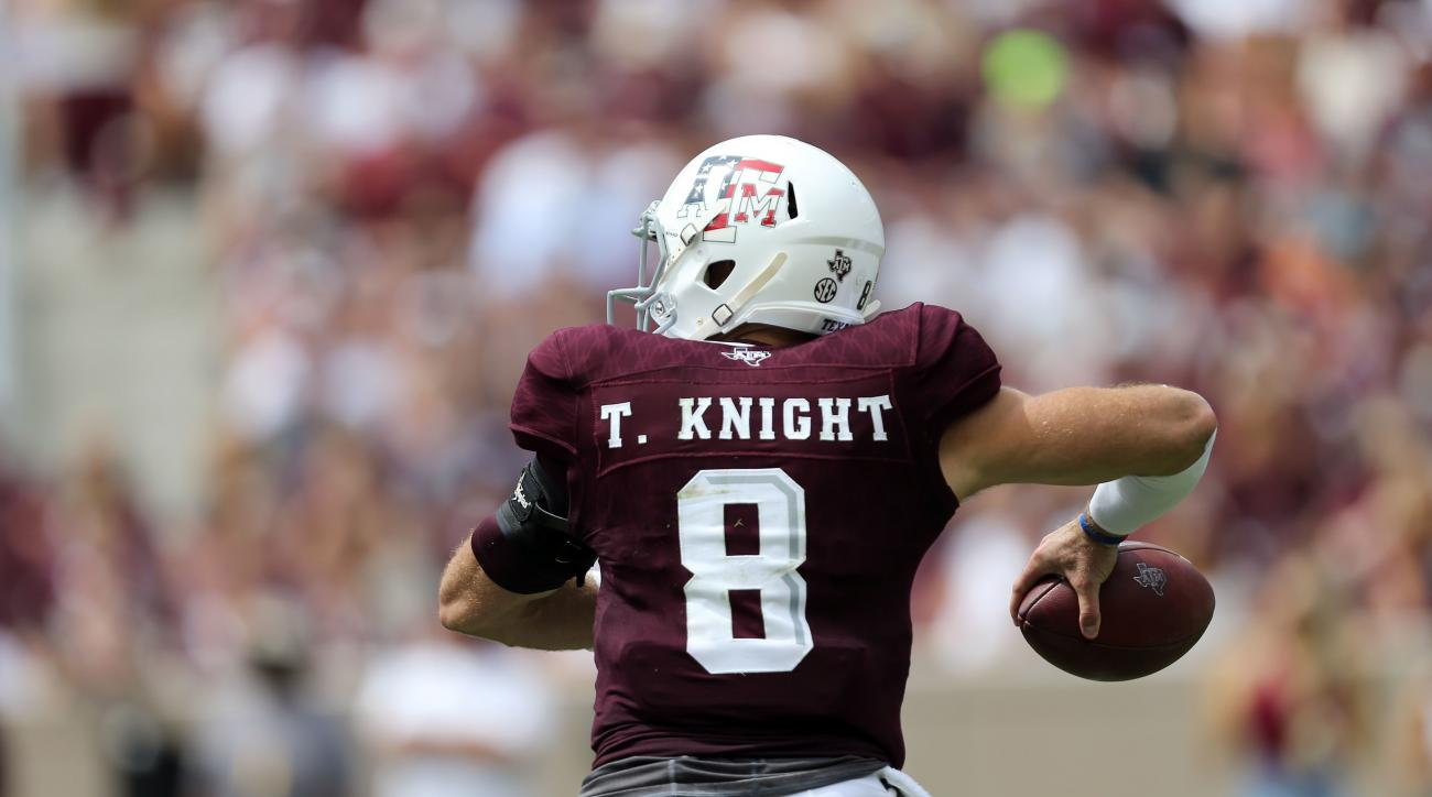 Texas A&M quarterback Trevor Knight (8) passes down field against Prairie View A&M during the first half of an NCAA college football game Saturday, Sept. 10, 2016, in College Station, Texas. (AP Photo/Sam Craft)