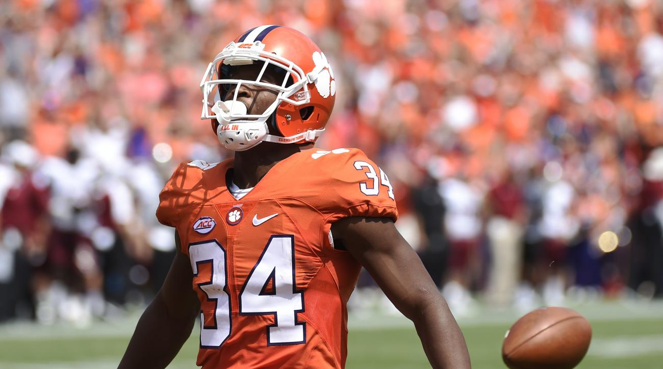 Clemson wide receiver Ray-Ray McCloud (34) drops the football as he enters the end zone during the first half of an NCAA college football game against Troy on Saturday, Sept. 10, 2016, in Clemson, S.C. The play was not ruled a touchdown. (AP Photo/Rainier